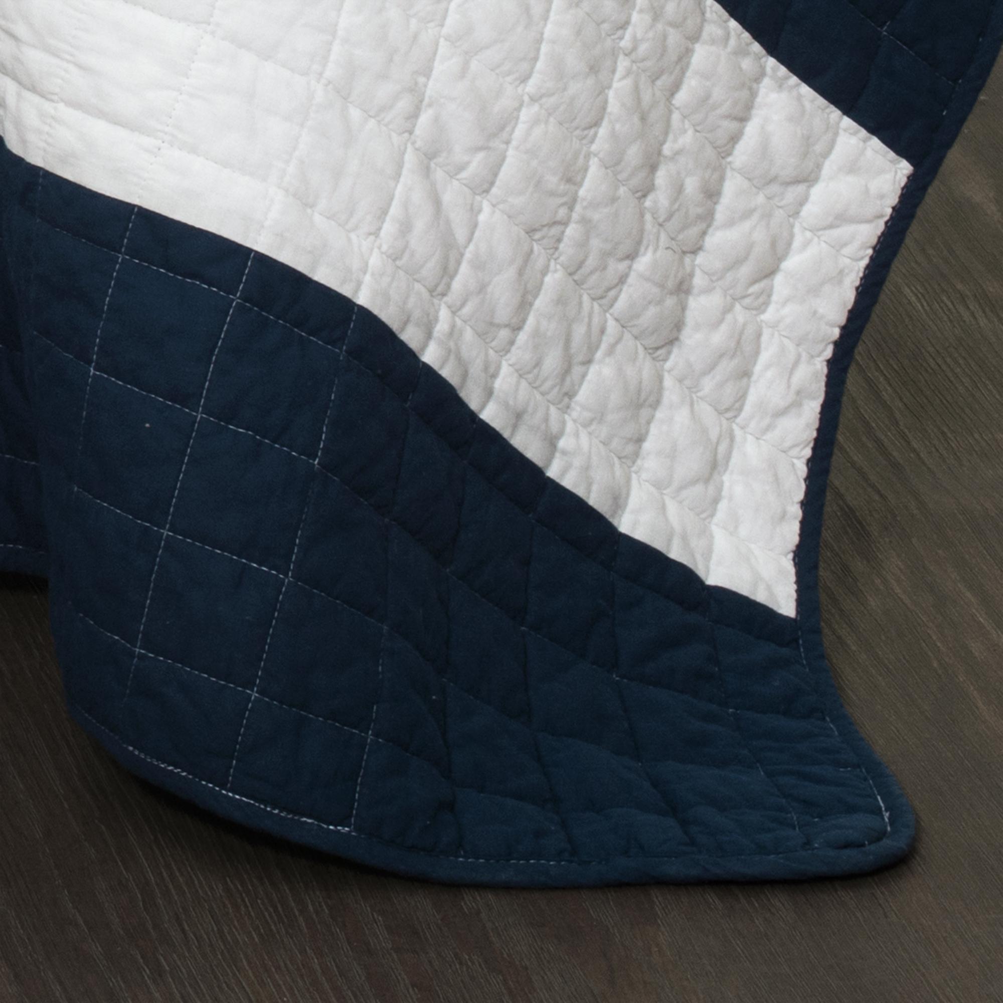 New Berlin Stripe Quilt Navy White 3pc Set Full Queen Ebay