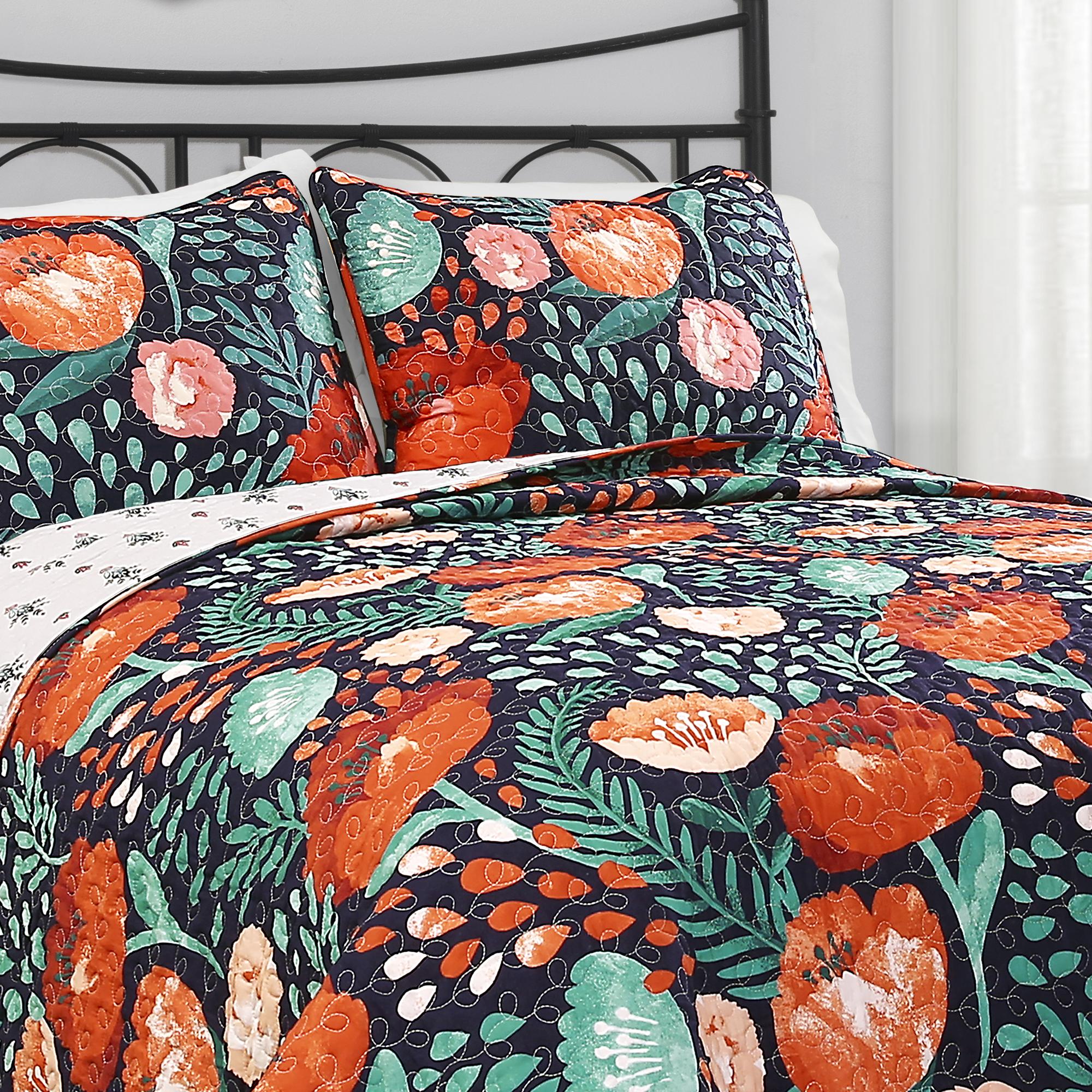 Poppy Garden Quilt Navy 3Pc Set
