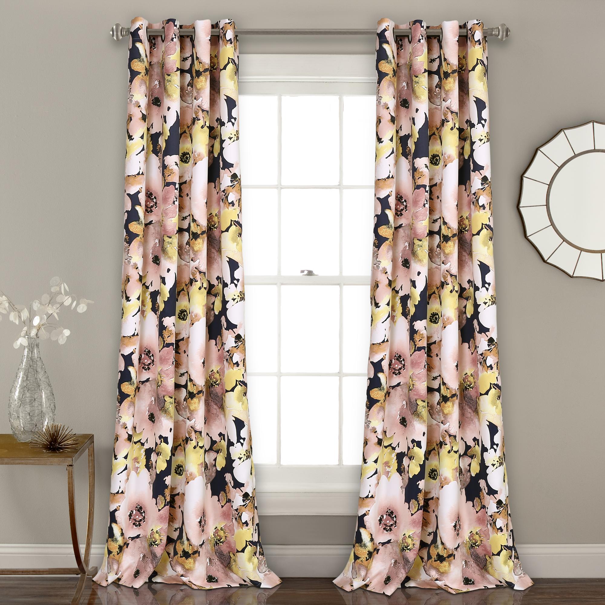 Floral Watercolor Room Darkening Window Curtain Panels