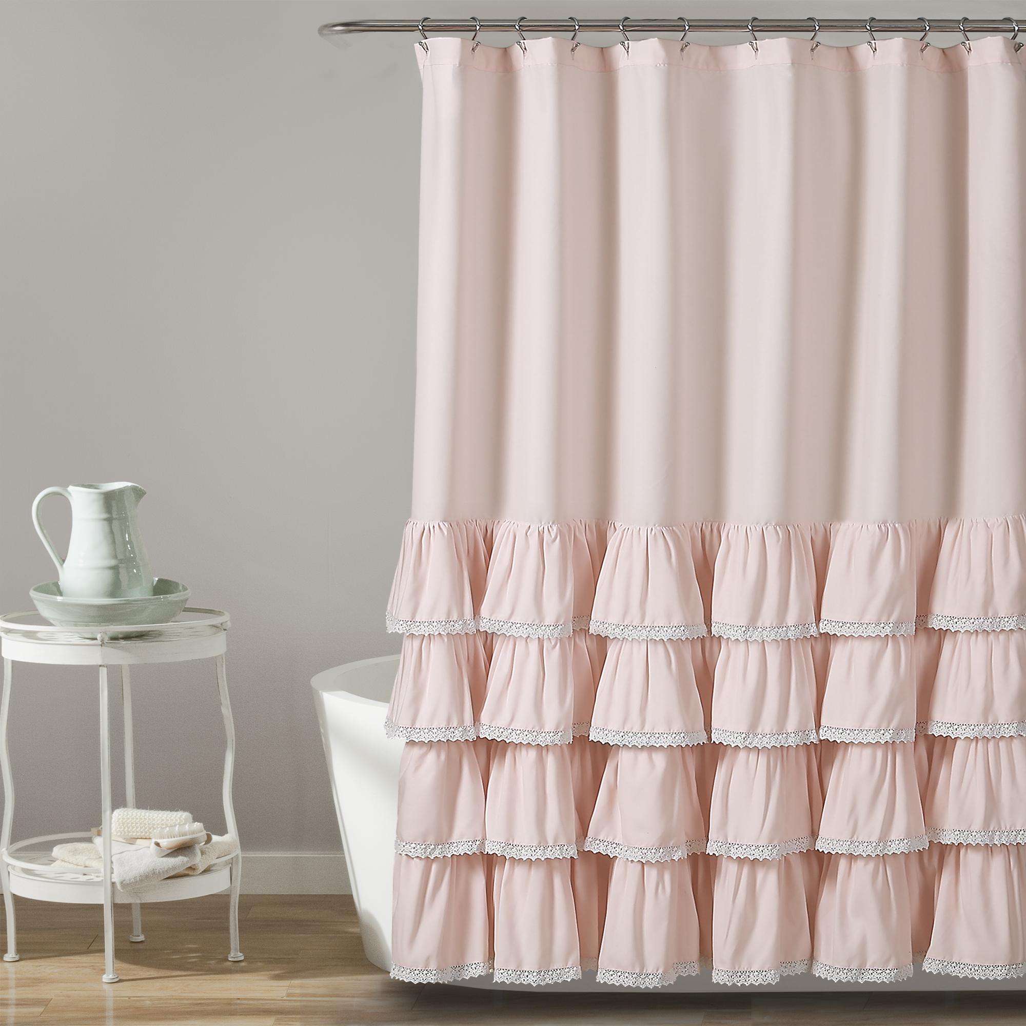 Ella Lace Ruffle Shower Curtain White 72X72 | eBay