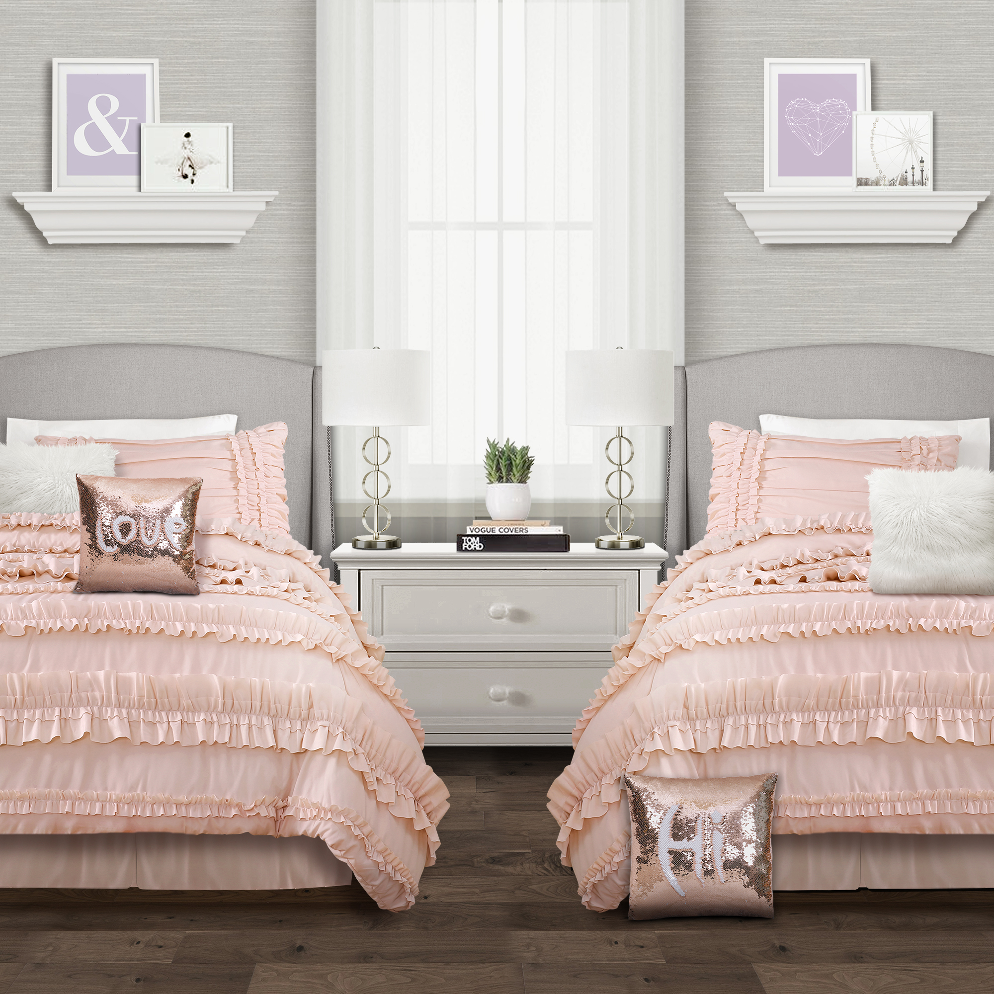 Belle Comforter Blush 4Pc Set Full Queen
